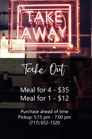Take Away options 5:15pm to 7:00pm